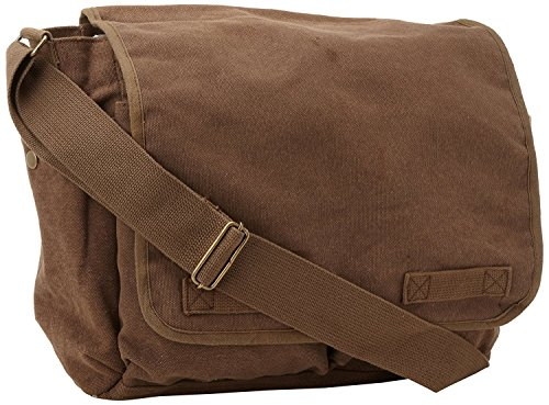ARMYU Brown Original Heavyweight Cotton Canvas Classic Heavyweight Military Messenger Bag + Pin