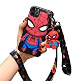 Fanbiya for iPhone 12 Pro Max Case for Kids Boys Cute 3D Cartoon Spider Man Pattern Shockproof Protection Slim Fit TPU Case with Crossbody Strap Lanyard and Doll Kickstand