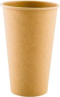 أكواب شرب من RW Base سعة 591 مل، 10 أكواب قهوة ورقية غير مبيضة - جدار واحد، لا أصباغ صناعية، أكواب قهوة ورقية للاستعمال مر...