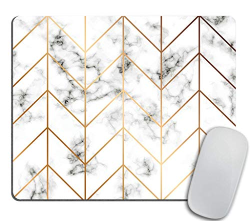 Coseevel 2530 Marble Texture Mouse pad Golden Geometric Lines Mousepad Black and White marbling Surface Mouse pad