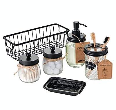 SheeChung Mason Jar Soap Bathroom Accessories Set 6-Pack