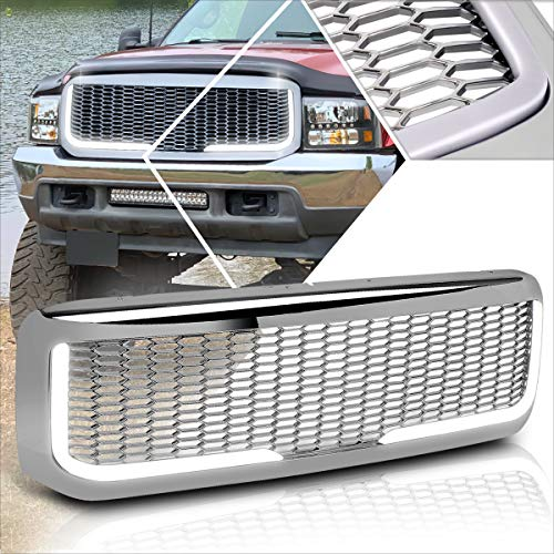Front Bumper Honeycomb Grill Grille+LED Light Bar Compatible with 99-04 Ford Super Duty (Chrome)