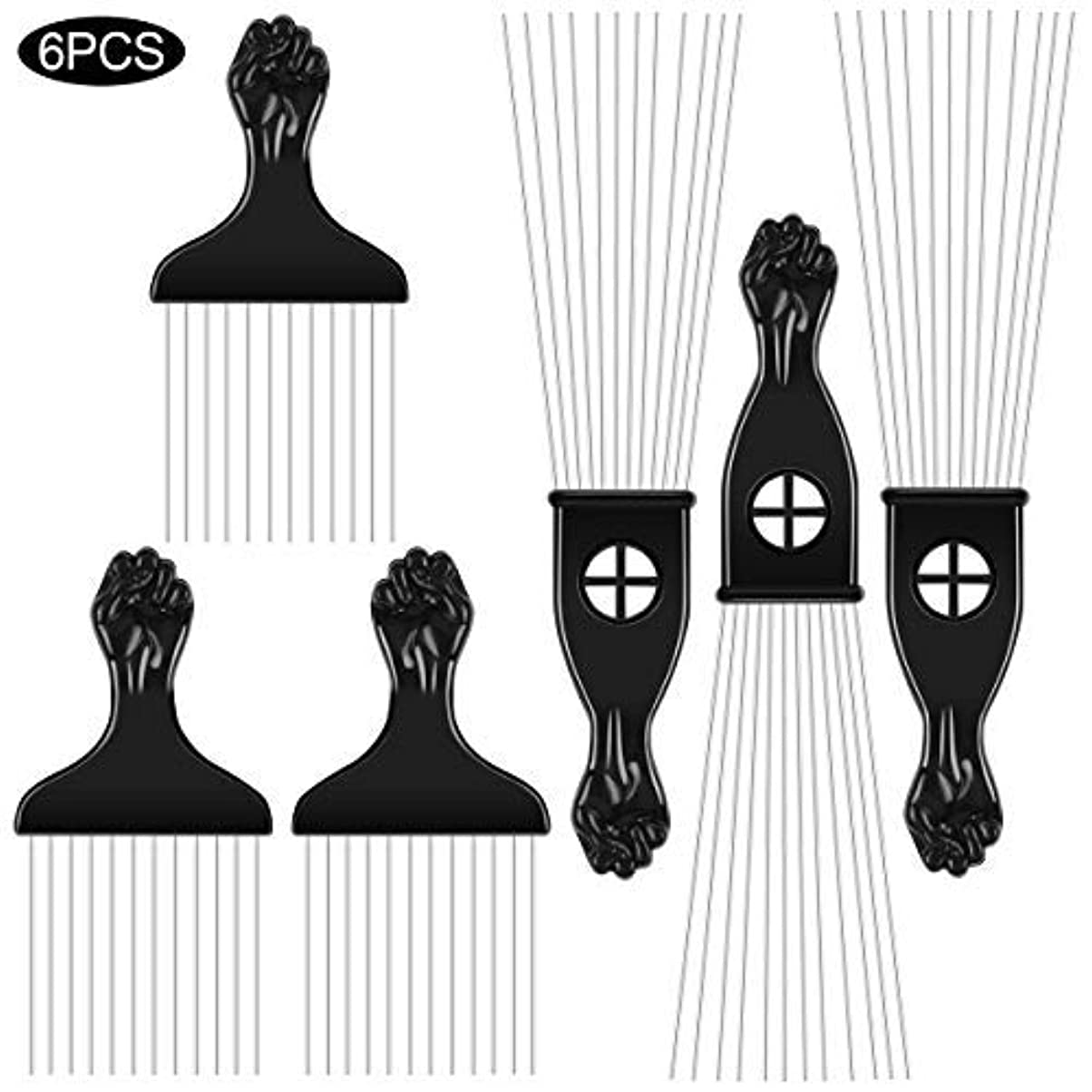 冷える拒否氏6PCS Afro Combs Metal African American black Fist Pick Comb Hairdressing Styling Tool [並行輸入品]
