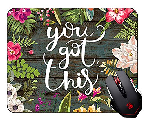 Floral Mouse Pad Motivation Quote You Got This Neoprene Inspirational Quote Mousepad Office Space Decor Home Office Computer Accessories Mousepads Watercolor Vintage Flower Design Non-Slip Rubber