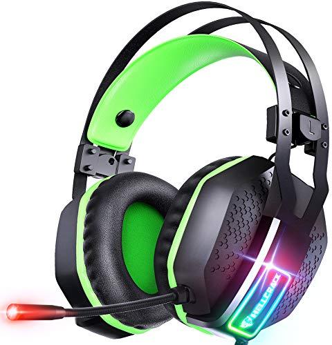 Mifanstech V10 Cuffie Gaming per Xbox One, PS4, PS5,Cuffie con Microfono e Cavo Audio Jack da 3,5 mm, Headset Gaming con Controllo del Volume per Laptop, PC, Nintendo Switch (Verde)