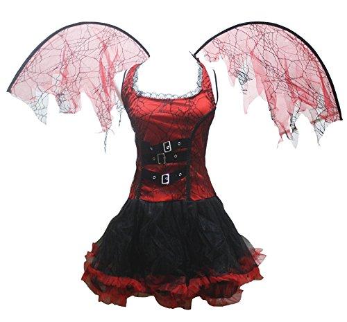 Déguisement Pretty Diable pour Halloween, robe pour femme de couleur rouge, marque Petitebelle - rouge - Taille unique