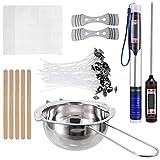 HEALLILY Kit para hacer velas, velas y cera de soja, incluye bote de cera para derretir velas, mechas de velas, pegatinas de puntos, dispositivos de centrado de velas para manualidades