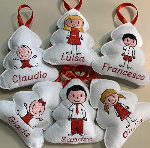 Pallina Di Natale Con Nome A Forma Di Alberello Con Personaggio A Scelta In Pannolenci Imbottito