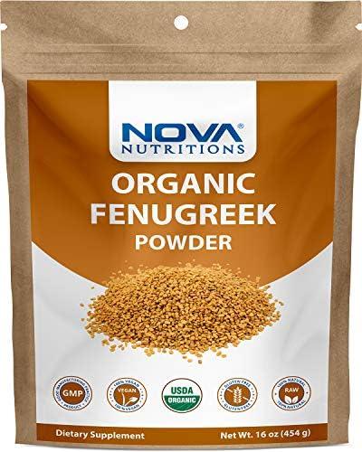 Nova Nutritions Certified Organic Fenugreek Seed Powder 16 OZ 454 gm Methi Seeds Ground Trigonella product image