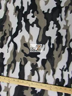 WHITE SILVER BLACK ARMY CAMOUFLAGE PRINT POLAR FLEECE FABRIC 60