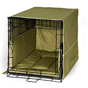 """Pet Dreams Complete 3 Piece Crate Bedding Set! The Original Crate Cover, Crate Pad and Crate Bumper for Double Door Dog Crate. Large Fits 36"""" Midwest Crate - Olive Green"""