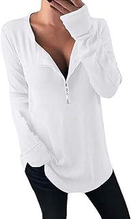 GUOCAI Women Zip-Up Solid Color Long Sleeve T-shirt Blouse