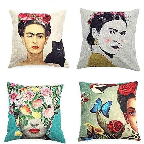 Adecuado para Frida Kahlo, estilo mexicano, autorretrato, funda de almohada, 4 piezas, funda de cojín de lino de algodón, funda de almohada, decoración de coche familiar, 45cm x 45cm, cojín para sofá