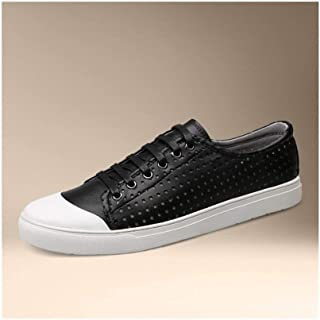 AiHua Huang Fashion Athletic Shoes for Men Sports Shoes Low-top Lacing Up Versatile Style OX Leather Casual Breathable Small Hollow Vamp (Color : Black, Size : 7 UK)