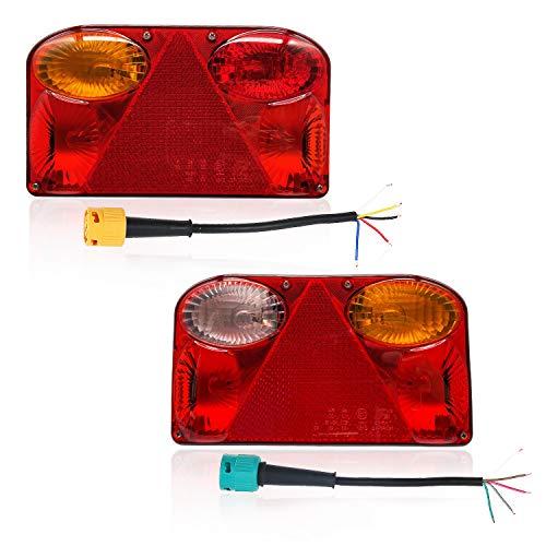 Hawkeye Paar Hintere Anhänger Leuchte Rückleuchten Glühbirne Lampe Anhänger beleuchtung für LKWs Auto Anhänger (Rechteck, rot & Bernstein)