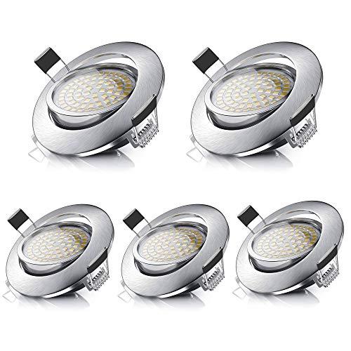 LED Einbaustrahler Schwenkbar 5er Set, 5W Deckenstrahler Leuchtmittel - Warmweiß 3000K, 550lm, Runden Stahl Deckenspot IP44 für Deckenspots Wohnzimmer, Badezimmer