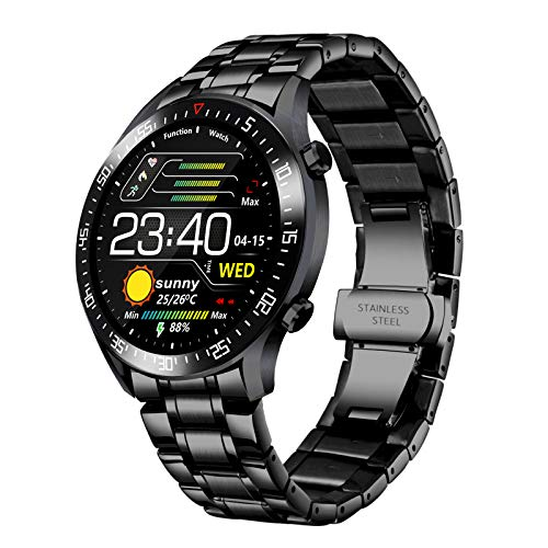 Reloj inteligente para hombres, rastreador de ejercicios, monitor de frecuencia cardíaca a prueba de agua IP68 para iOS y Android