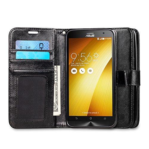 """J&D Case Compatible for Zenfone 2 Case, [Wallet Stand] [Slim Fit] Heavy Duty Protective Shock Resistant Flip Cover Wallet Case for ASUS Zenfone 2 (5.5"""") ZE550ML / ZE551M Wallet Case - Black"""