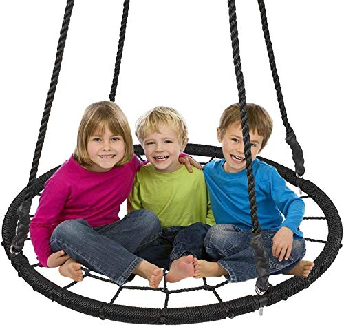 RAXTER Outdoor Swing, Giant 40' Round Web Tree Net Swing Swing Set Anchors Hanging Ropes 400 lbs Capacity, Adjustable length hanging ropes Easy Install