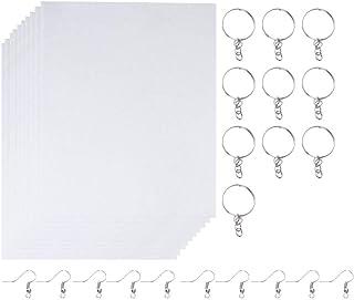 ULTNICE 30 Pieces Heat Shrink Plastic Sheet Kit Include 10 Sheets Shrinky Art Paper with 10PCS Ear Hooks and 10PCS Keychai...