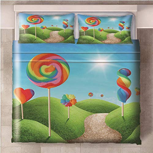 NHBTGH Duvet Cover Color Candy Printed Polyester Bedding Set Double Size with Zipper Closure + 2 Pillowcases Easy Care Anti-Allergic Soft & Smooth