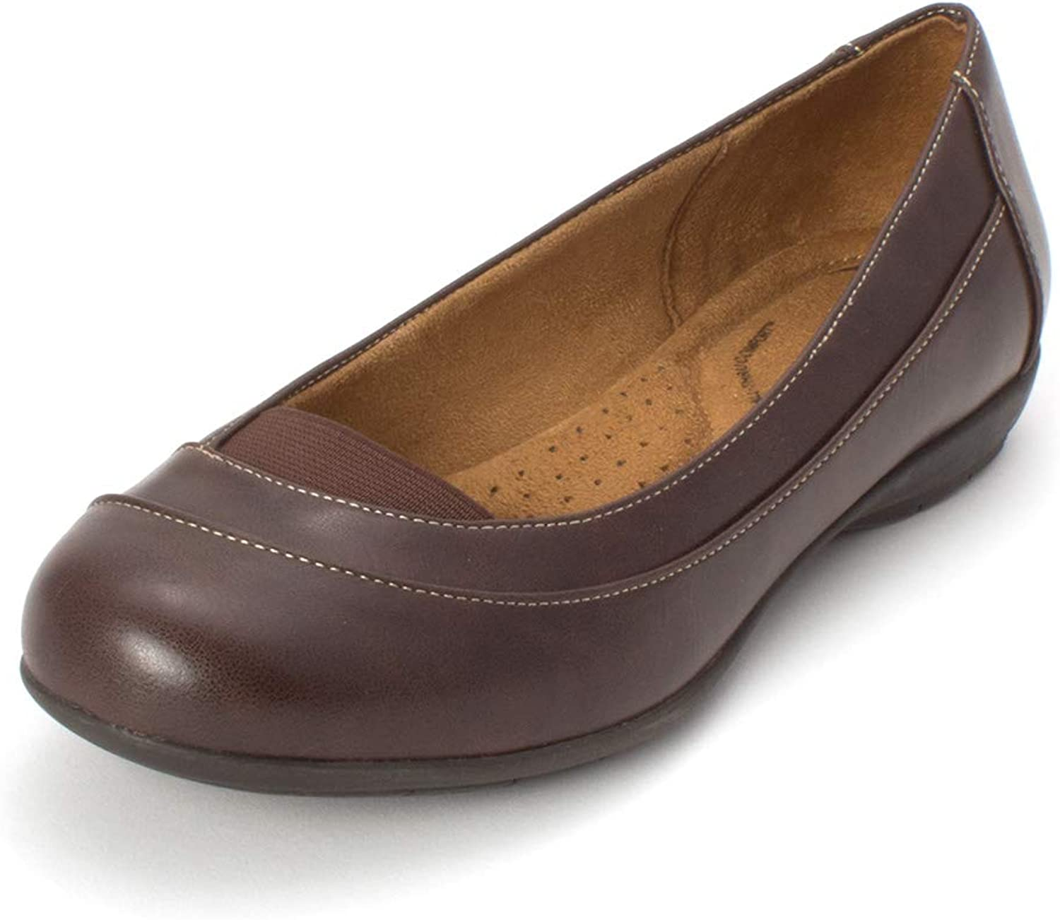 Natural Soul Womens Glamour Round Toe Ballet Flats