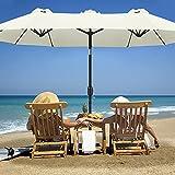 Sonnenschirm Doppelsonnenschirm Oval Handkurbel Sonnenschutz Beige Balkon