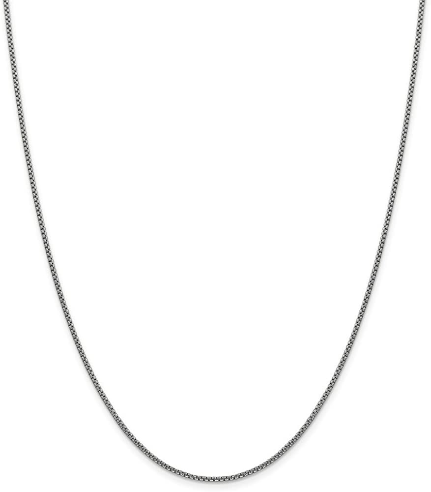 14k White Gold 1.5mm Round Box Chain Necklace - with Secure Lobster Lock Clasp