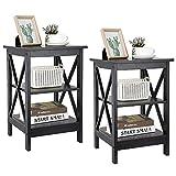 ZENY Set of 2 End Table, Sofa Side End Storage Shelf Versatile X-Design Night Stand, Livin...