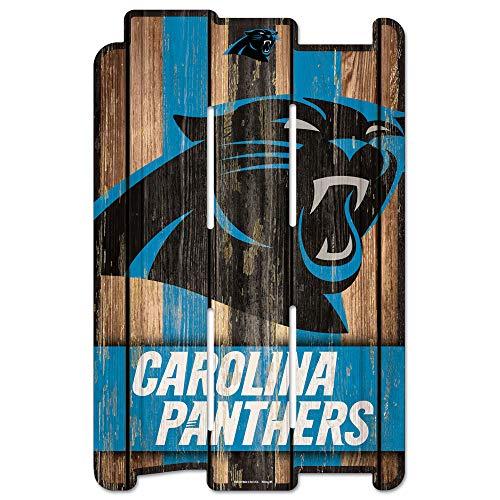 WinCraft NFL Carolina Panthers Wood Fence Sign, Black
