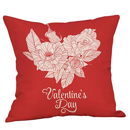 Yvelands Saint Valentin Style Lin Carré Taie d'oreiller Imprimé Romantique Doux Coussins Lombaires Coussins RelèVe-Jambes(G)