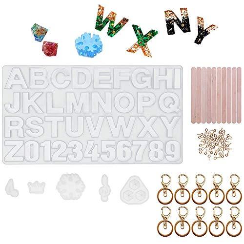 Gesh Resina, silicona alfanumérica, fabricación de joyas, para llavero, colgante y decoración del hogar (carta).