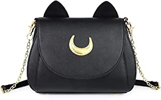 cvvbfgbfg Moon Luna Cat Purses Pu Leather Gothic Purse Cosplay Moon Sailor Bag Handbags Shoulder Bags for Women