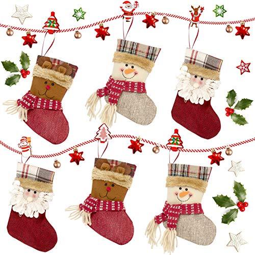 Ucradle Weihnachtsstrümpfe, 6 PCS 7,5 Zoll mit Weihnachtsmann Schneemann Elch Muster - Rot & Weiß Weihnachtssocken Geschenk & Geschenkbeutel Tasche für Familienurlaub Weihnachten Party Deko