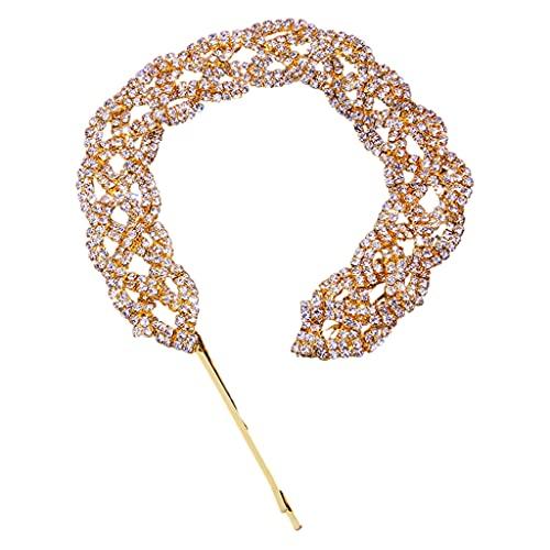 Perfeclan Pinzas para el cabello con diamantes de imitación, horquilla de cristal para niñas, horquilla para el cabello con brillo, pieza para el cabello, Oro