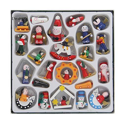 DR.DUDU Christmas Miniature Wood Ornaments Decoration, Mini Christmas Ornament Set of 24 Pieces