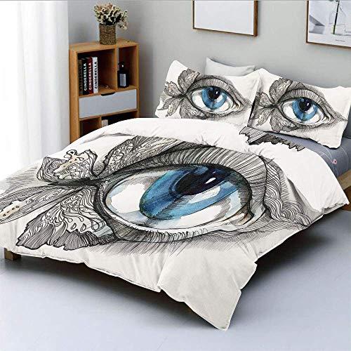 Juego de funda nórdica, ojo humano abstracto con pestañas de mariposa Estilo de pintura Look de mujer soñadora Juego de cama decorativo de 3 piezas con 2 fundas de almohada, negro blanco azul,