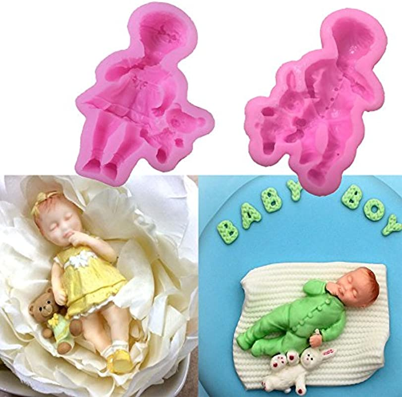 WYD 3D Lovely Baby Cake Decoration Mold Cooking Decoration Tools Silicone Mold Fondant Molds Fondant For Cake Decoration Tools Girl Boy