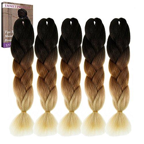 Emmet Jumbo Braids 60+ Colors Kanekalon Synthetic Box Braids African Hair Extension 100g/pcs,...