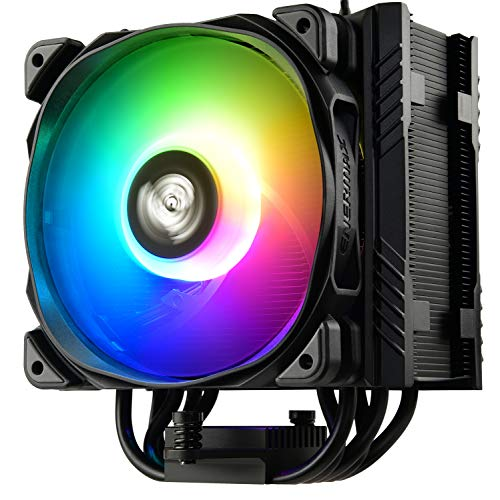 Enermax ETS-T50 Axe Addressable RGB CPU Air Cooler 230W+ TDP for Intel/AMD Univeral Socket 5 Direct Contact Heat Pipes 120mm PWM Fan Black: ETS-T50A-BK-ARGB (ETS-T50-BK-ARGB)