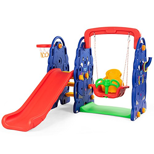Costzon Toddler Climber and Swing Set, 4 in 1 Climber Slide Playset...