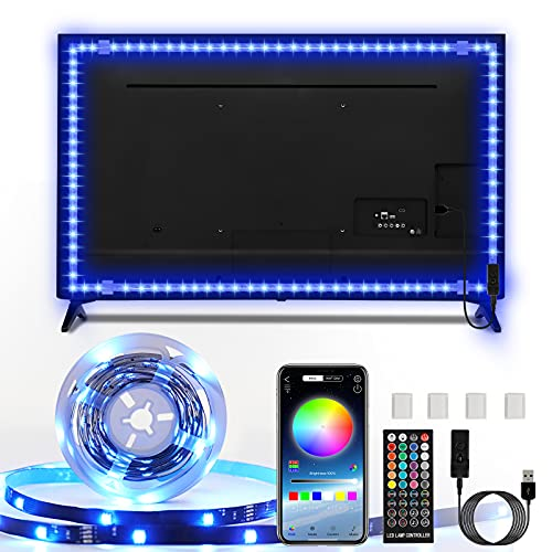 Tira LED TV, Enteenly 5m Luces LED Habitación, Retroiluminación de TV RGB 5050 LED USB con Aplicación y Control Remoto para TV de 55-75 Pulgadas , Cine en Casa, Cocina, Dormitorio, Sala de Estar