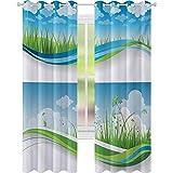 Cortinas para dormitorio, marcos de verano fresco prado verde hierba campo rural césped ambiente ecológico W52 x L72 Cortinas para dormitorio, azul verde y blanco