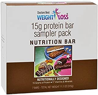 Doctors Best Weight Loss - High Protein Diet Bars |Variety| Low Calorie, Low Fat, Low Sugar (7/Box)