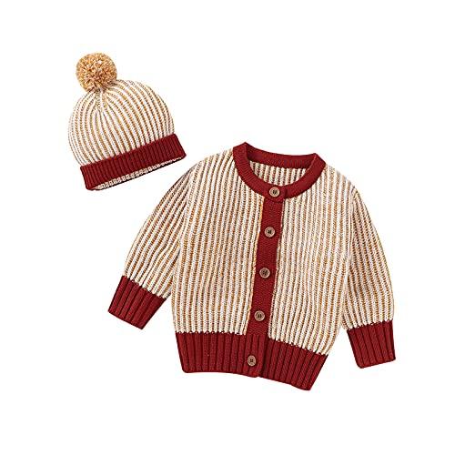 Soapow Conjunto de sombrero de abrigo de bebé para niño pequeño suéter de punto botón para arriba chaqueta de ganchillo con sombrero para niño pequeño