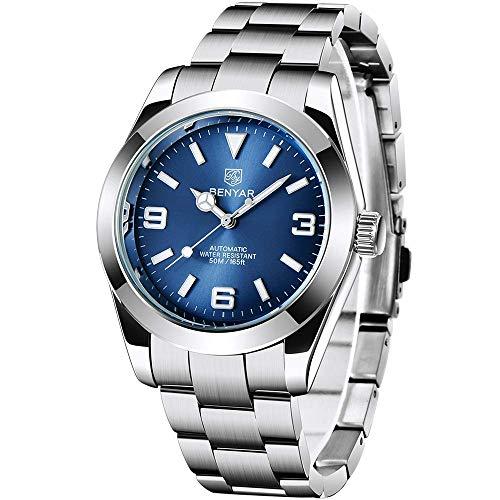 BENYAR Watches Mens Luxury Automatic Mechanical Watch Men 50M Waterproof Full Steel Business Dress Wrist Watch