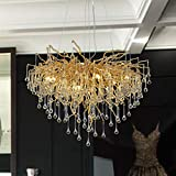 Modern Crystal Chandelier Lighting Ceiling Pendant Dining Room Foyer Entryway Chandeliers Flower Rain-Drop Hanging Light Fixtures Tree Twig Branch Fringe Style Gold (Dia 23.5' Round Gold)