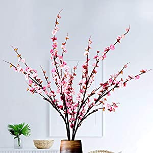 MJFloria Artificial Cherry Blossom Flowers Extra Long Branches, Tall Stems Silk Fake Plum for Tall Vase, Faux Peach Floral Arrangement for Home Indoor Living Room Wedding Decoration, 4 PCS 51.2″ Pink