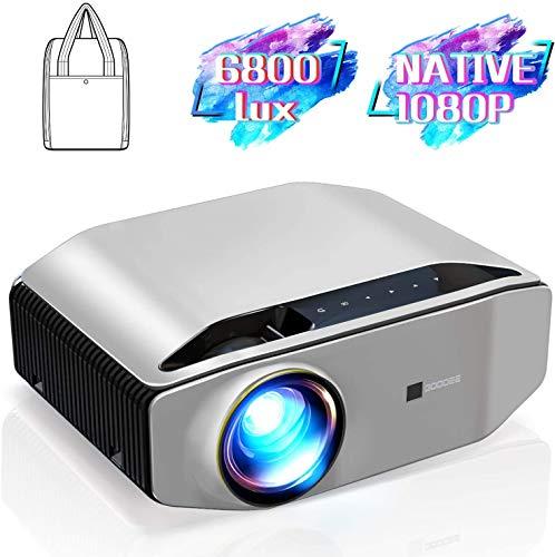 DOOK Mini Beamer, 6800 Lumen Heimkino Beamer, Support 1080P Full HD mit 100000 Stunden LED, kompatibel mit TV Stick, HDMI, SD, AV, VGA, USB, PS4, X-Box, iOS/Android Smartphone Projektor