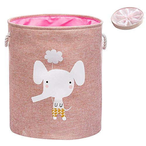 LINKIOM Large Folding Laundry Basket with Lid Toy Storage Baskets Bin for Kids Dog Toys Clothes Organizer Cute Animal Laundry Bucket- Storage Kitchen containers- Bamboo Storage Bins-Pink Elephant